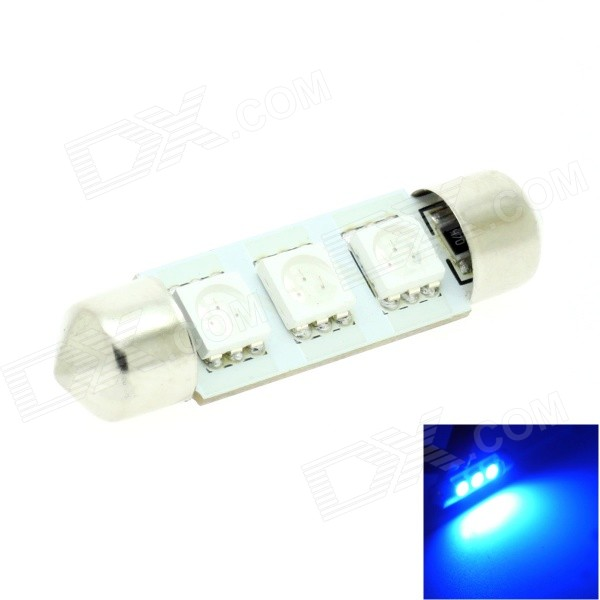 HONSCO Festoon 39mm 1W 30lm 490nm 3-5050 SMD LED Blue Light Car Dome / License Plate Lamp (12V)