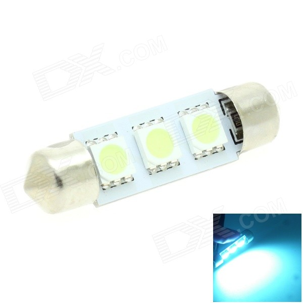 HONSCO Festoon 39mm 495nm 1W 30lm 3-5050 SMD LED Crystal Blue Car Dome / License Plate Lamp (12V)