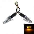 D43 1W 150lm 590nm 22-LED Yellow Light Motorcycle Turn Lights - Black +Sliver (2 PCS / 12V)