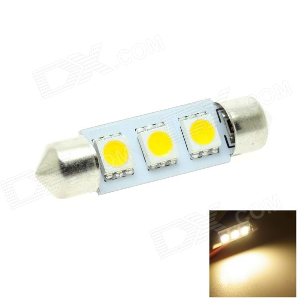 HONSCO Festoon 39mm 1W 30lm 3000K 3-5050 SMD LED Warm White Car Dome / License Plate Lamp (12V)