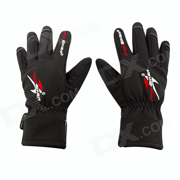 PRO-BIKER DXMS-05 Motorcycle / Bicycle Warm PU Leather + Nylon Racing Gloves - Black (Pair / L) pro biker mcs 03 motorcycle racing full finger warm gloves black grey size l pair