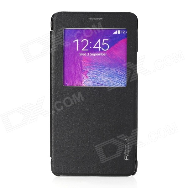 ROCK Uni Series Protective  PU + PC Case w/ Display Window / Auto Sleep for Samsung Galaxy Note 4 rock uni series protective pu pc case w display window auto sleep for samsung galaxy note 4