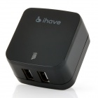 ihave Tank 3.4A 2-USB Port US Plug Power Adapter w/ AU Plug Converter - Black (AC100~240V)