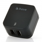 ihave Tank 3.4A 2-USB Port US Plug Power Adapter w/ EU Plug Converter - Black (AC 100~240V)