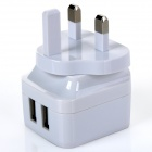 ihave Tank 3.4A 2-USB Port US Plugss Power Adapter w/ UK Plug Converter - White (AC 100~240V)