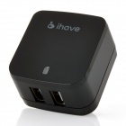 ihave Tank 3.4A 2-USB Port US Plug Power Adapter w/ UK Plug Converter - Black (AC 100~240V)