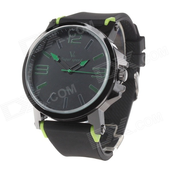 Super Speed V6 V0195 Men's Silicone Band Large Dial Quartz Analog Watch - Black + Green (1 x LR626)