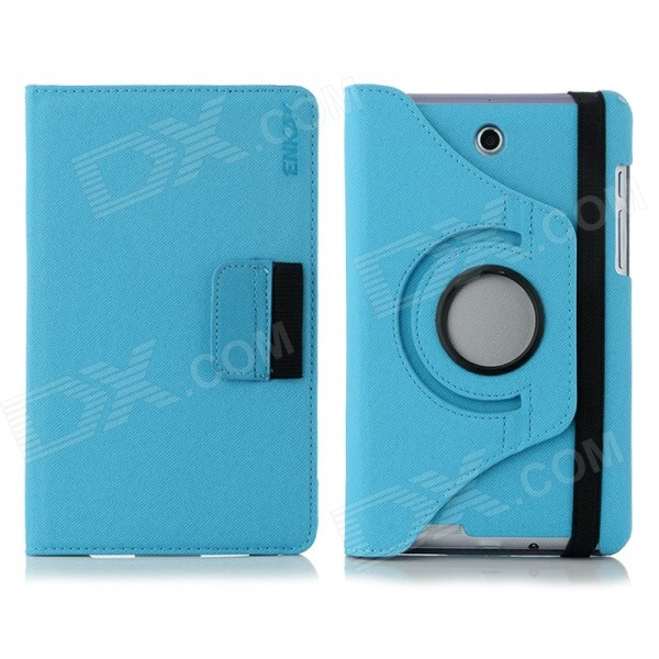 ENKAY 360 Degree Rotation Protective Case with Card Slots for Asus Fonepad 7 / ME372CG - Light Blue 360 degree rotating protective litchi pattern case w stand for google nexus 7 ii chocolate