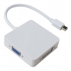 3-em-1 Mini DisplayPort Mini DP Thunderbolt para VGA / HDMI / DVI Cabo Adaptador - Branco (25cm)