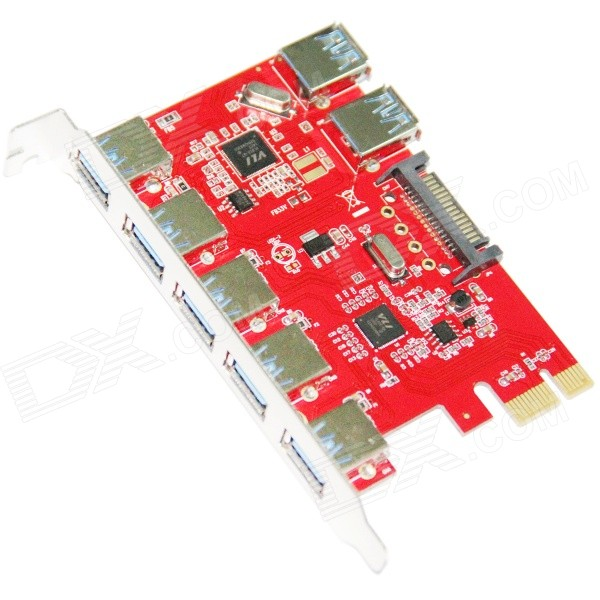 WBTUO desktop PCI-E e 5-Port USB 3.0 + Built-in 2 portas USB 3.0 Express Card - Red