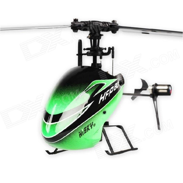 Hisky HFP80 V2 4-CH 2.4GHz 6-Axis R/C Outdoor Helicopter Toy w/ Gyro - Green + Black wltoys wl r4 2 9 lcd 6 axis multi function remote controller for r c toy black 4 x aa