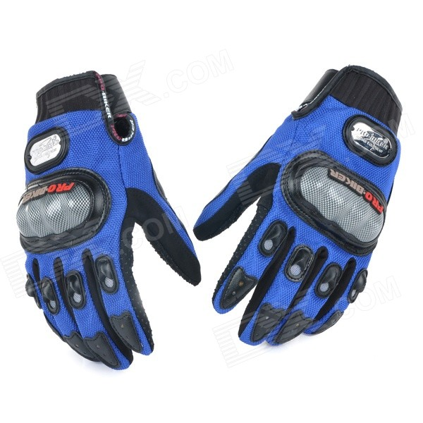 PRO Motorcycle Racing Full Fingers Gloves - Blue + Black + Grey (L / Pair)