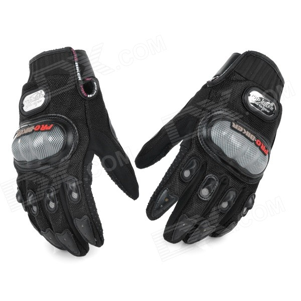 PRO Motorcycle Racing Full Fingers Gloves - Black + Grey (L / Pair)