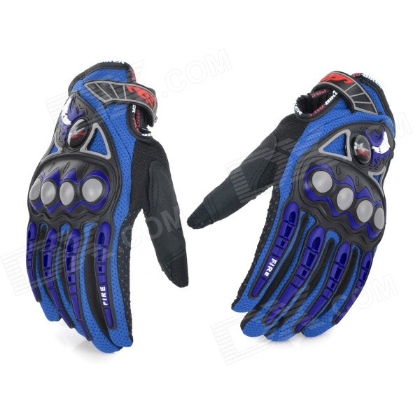 PRO MCS23 Men's Motorcycle Racing Full Fingers Gloves - Blue + Black + Grey (L / Pair)
