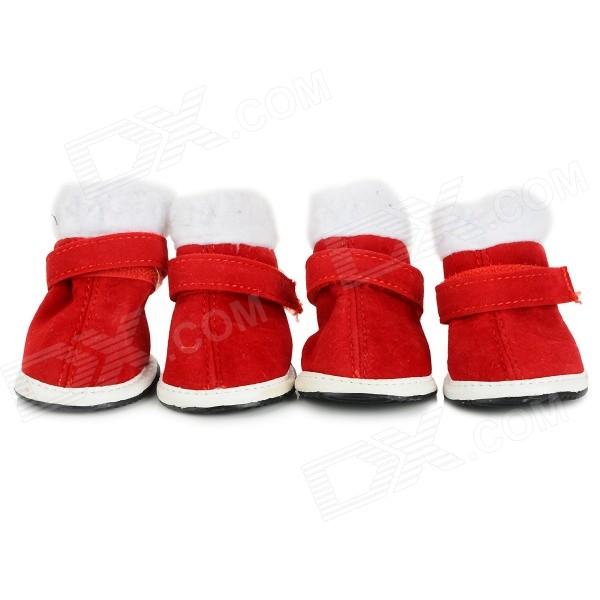 Christmas Velcro Warm Casual Cotton Shoes for Pet Cat / Dog - White + Red (Size XXL / 4 PCS) pet carrier bag for cat dog medium size brown