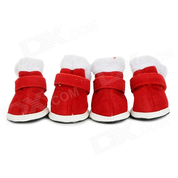 Christmas Velcro Warm Casual Cotton Shoes for Pet Cat / Dog - White + Red (Size XL / 4 PCS) pet carrier bag for cat dog medium size brown