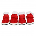 Christmas Velcro Warm Casual Cotton Shoes for Pet Cat / Dog - White + Red (Size XL / 4 PCS)