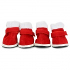 Christmas Velcro Warm Casual Cotton Shoes for Pet Cat / Dog - White + Red (Size M / 4 PCS)