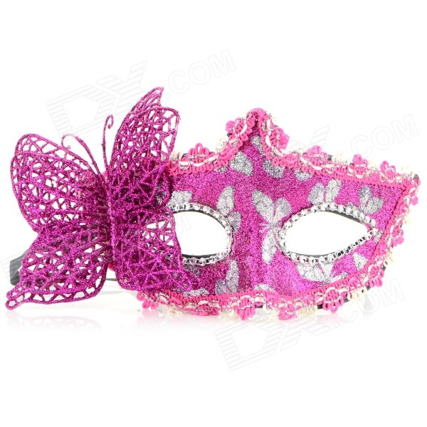 Stylish Butterfly Decorated Shiny Powder Finish Mask for Halloween / Costume Party / Ball - Pink