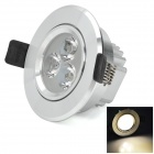 HUGEWIN HSD590 3W 200lm 3000K 3-LED Warm White Ceiling Lamp - Silver (AC 85~265V)