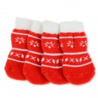 Snowflakes Patterned Christmas / New Year Socks for Pet Cat / Dog - White + Red (M / 4 PCS)