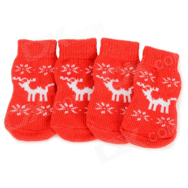 Cute Deer Patterned Christmas / New Year Socks for Pet Cat / Dog - White + Red (Size XL / 4 PCS)