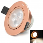 HUGEWIN UHSD654 3W 210lm 3000K 3-LED Warm White Ceiling Lamp - Rose Gold (AC 85~265V)