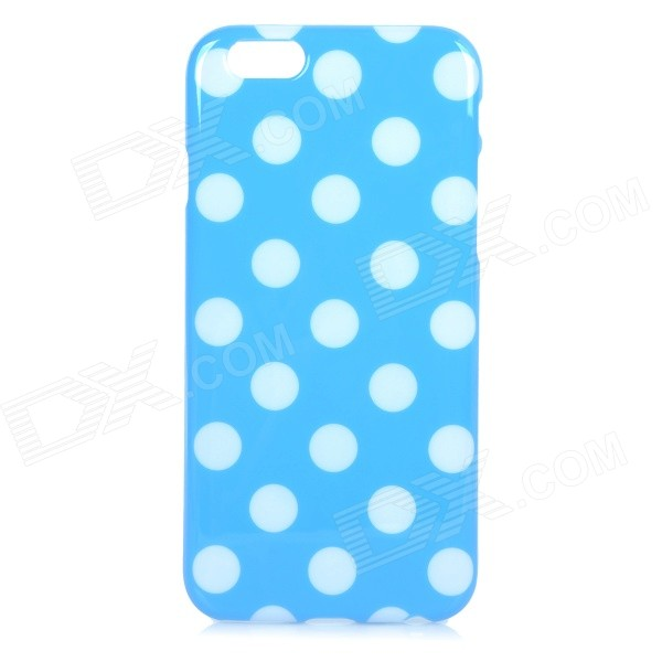 Stylish Polka Dot Patterned Protective Silicone Back Case Cover for IPHONE 6 4.7 - Blue + White protective silicone soft back case cover for iphone 5 white