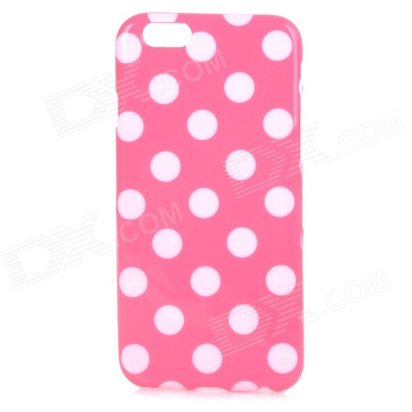 Stylish Polka Dot Patterned Protective Back Case Cover for IPHONE 6 4.7 - Pink + White stylish bubble pattern protective silicone abs back case front frame case for iphone 4 4s