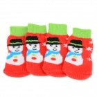 Snowman Patterned Christmas / New Year Socks for Pet Cat / Dog - Red + Green (M / 4 PCS)