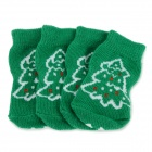 Christmas Tree Patterned Christmas / New Year Socks for Pet Cat / Dog - White + Green (M / 4 PCS)