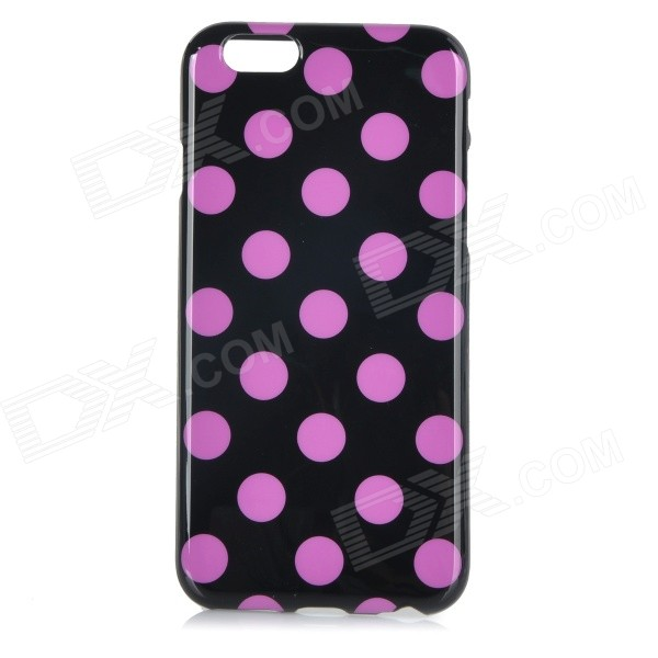 Stylish Polka Dot Patterned Protective Back Case Cover for IPHONE 6 4.7 - Black + Purple stylish bubble pattern protective silicone abs back case front frame case for iphone 4 4s