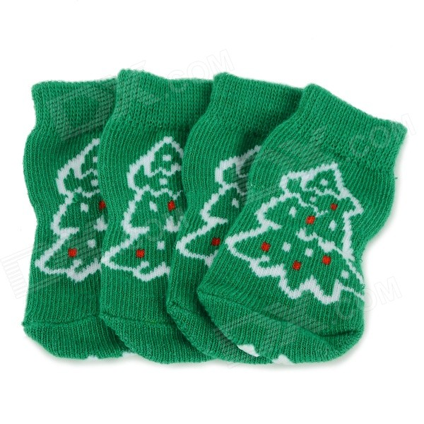 Christmas Tree Patterned Christmas / New Year Socks for Pet Cat / Dog - White + Green (S / 4 PCS)
