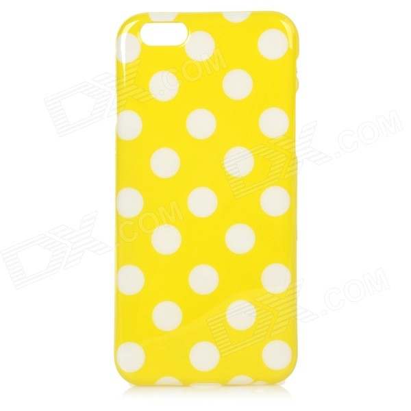 Stylish Polka Dot Patterned Protective Silicone Back Case Cover for IPHONE 6 4.7 - Yellow + White protective silicone soft back case cover for iphone 5 white