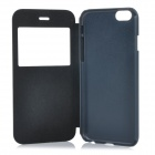 "Protective Flip-Open PU Case Cover w/ View Window for IPHONE 6 4.7"" - Black"