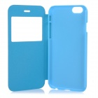 "Protective Flip-Open PU Case Cover w/ View Window for IPHONE 6 4.7"" - Blue"