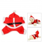 Cute Christmas Cotton Coat w/ Cap for Pet Dog / Cat - Red + White (Size L)
