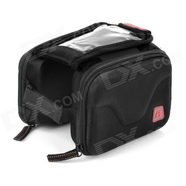 B-soul YA126 Bike Bicycle Top Tube Double Bag w/ Touch Screen Phone Pouch Case - Black
