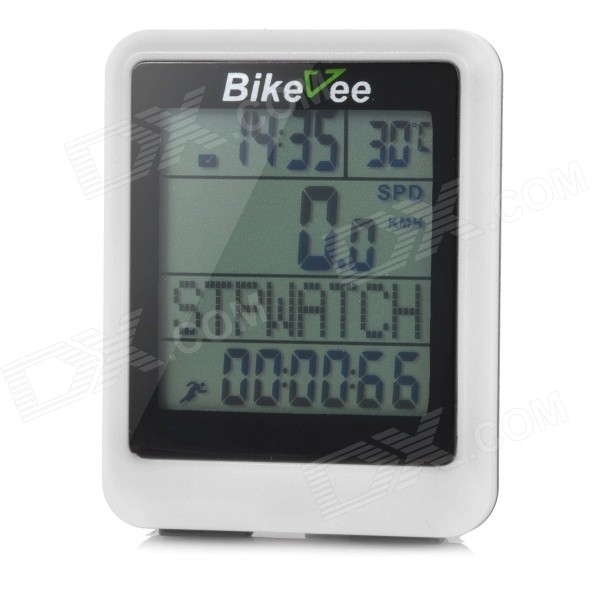 Bikevee Water Resistant 20-Function 1.6 Screen Wired Electronic Bike Computer - White (1 x CR2032) bikevee bkv 6000 2 2 display screen bike computer silver 1 x cr2032