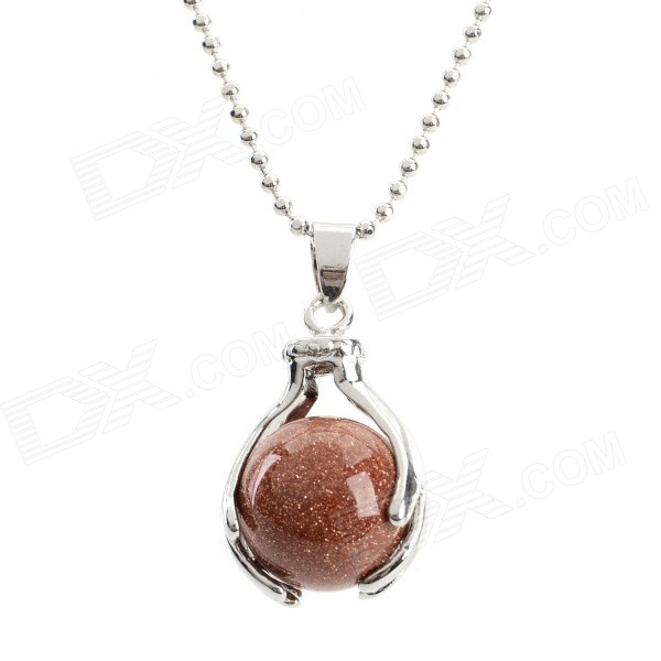 Fenlu Stylish A Pearl in The Palm Style Pendant Necklace - Reddish Brown + Silver