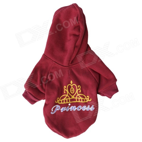 "LB-T0007 ""Princess"" Lettering Crown Patterned Fleece Hoodie T-Shirt for Pet Cat / Dog - Red (Size M)"