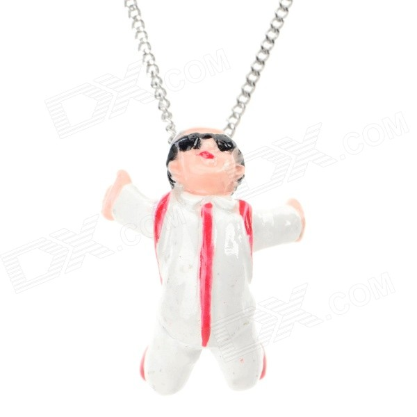 Cute Cartoon Human Figure Pendant Necklace - White + Red cute cartoon human figure pendant necklace white red