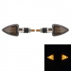 MZ Arrow Style 0.6W 50lm 12-LED Yellow Motorcycle Steering Lamps - Translucent Tan (12V / pair)