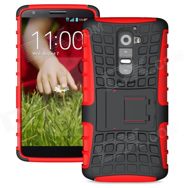 все цены на Protective TPU + PC Back Case w/ Stand for LG Optimus G2 - Black + Red онлайн