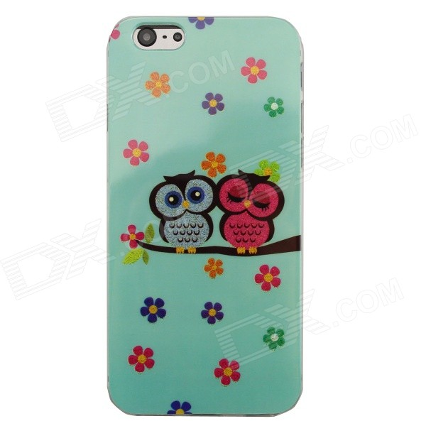 "Shimmering Loving Owl Pattern Protective TPU Back Case for IPHONE 6 4.7"" - Cyan + Multicolored"