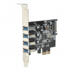 ULANSON PCIE Expansion Card w/ External 4-Port USB 3.0, Low Profile, SATA 15-Pin Power Socket