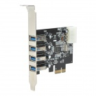ULANSON PCIE USB3.0 Expansion Card w/ 4-Port USB 3.0, Low Profile, 4-Pin Power Connector