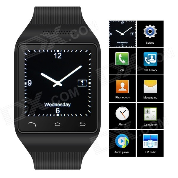 ZGPAX S18 GSM Watch Phone w/ 1.54 Capacitive Screen, Quad-band, Bluetooth, FM - Black (UK) s18 gsm watch phone w 1 5 screen quad band bluetooth and fm black