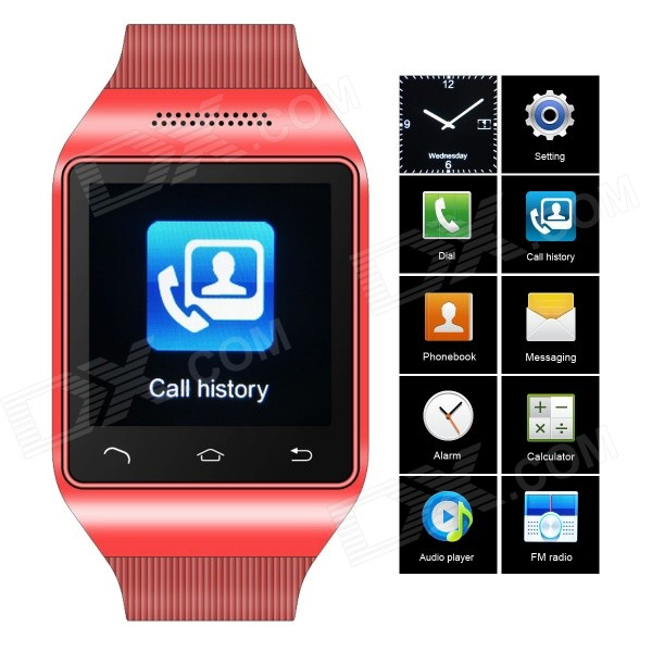 ZGPAX S18 GSM Watch Phone w/ 1.54 Capacitive Screen, Quad-band, Bluetooth, FM - Red (UK) s18 gsm watch phone w 1 5 screen quad band bluetooth and fm black