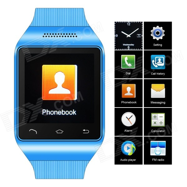 ZGPAX S18 GSM Watch Phone w/ 1.54 Capacitive Screen, Quad-band, Bluetooth, FM - Blue (UK) s18 gsm watch phone w 1 5 screen quad band bluetooth and fm black